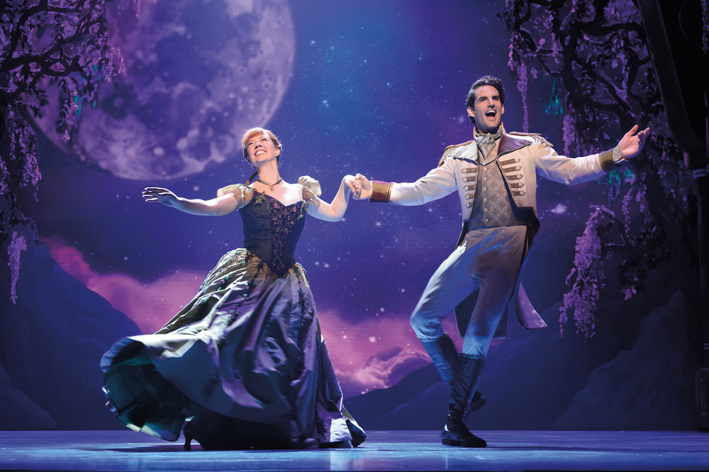 Patti Murin (Anna) and John Riddle (Hans) in FROZEN on Broadway  Photo by Deen van Meer
