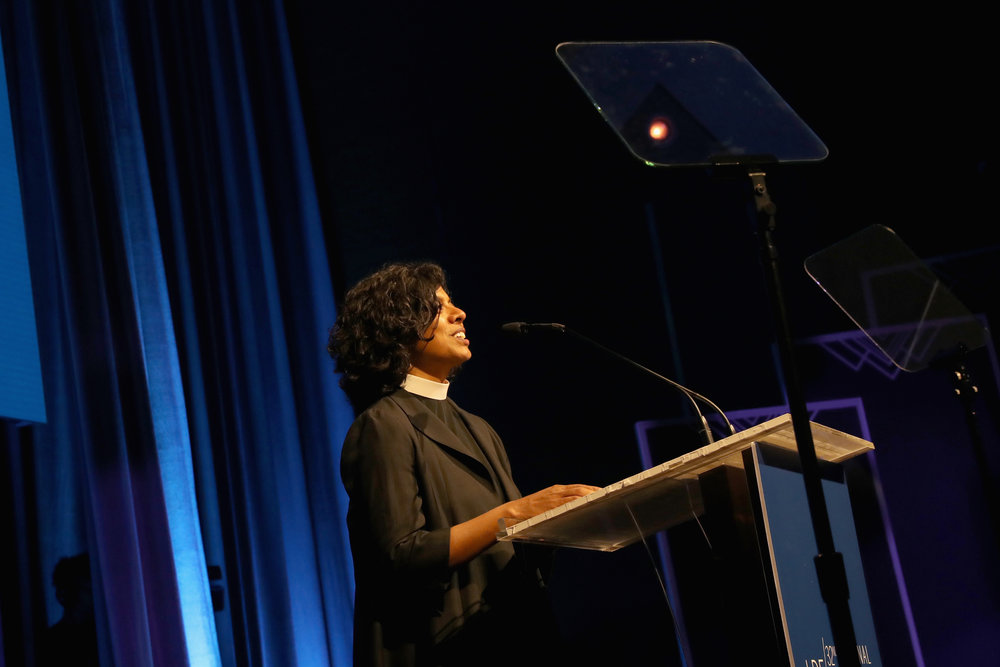 Reverend Winnie Varghese speaks onstage at the NAACP LDF 32nd National Equal Justice Awards Dinner at The Ziegfeld Ballroom on November 1, 2018 in New York City. (Photo by Johnny Nunez/Getty Images for NAACP LDF)
