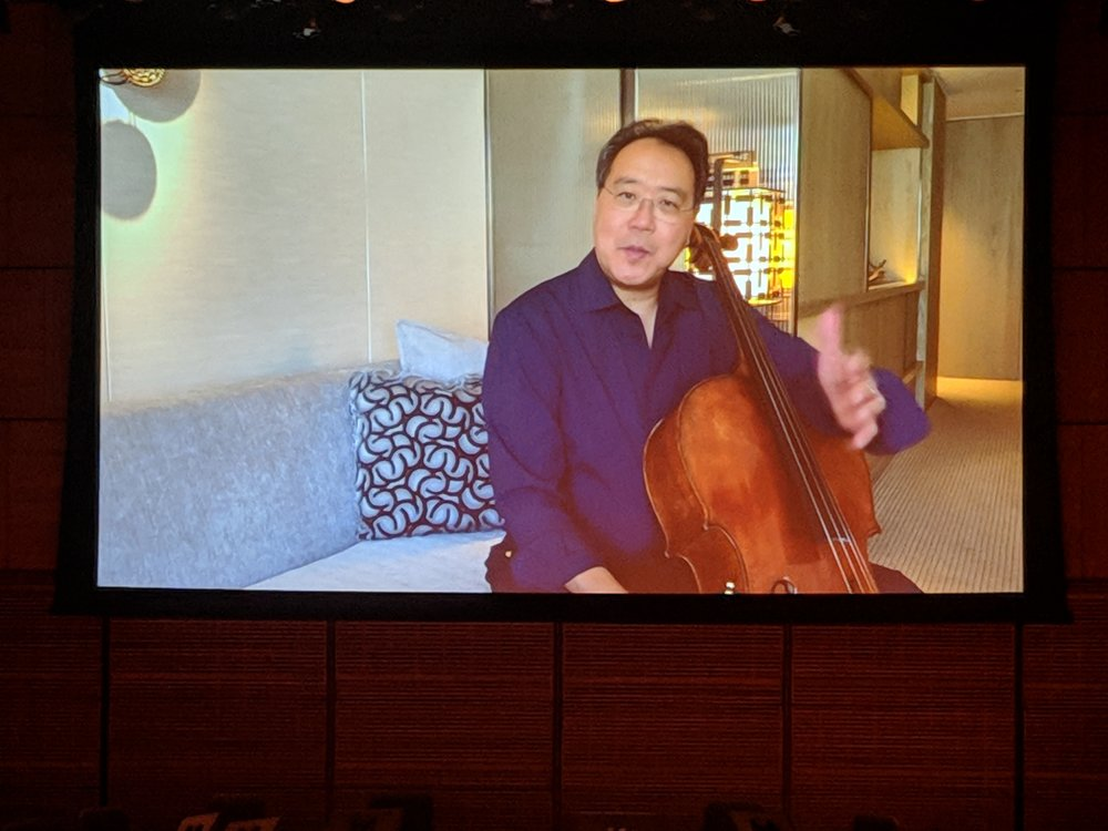 Yo Yo Ma, compliments Paula Zahn via video