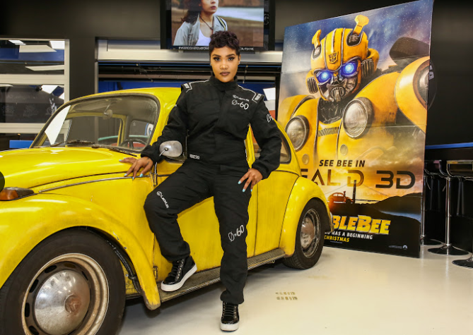 Tia Norfleet attends the Glammed-Out Auto Clinic at West Coast Customs on behalf of BUMBLEBEE, in theatres December 21 (Photo Credit: Steven Baffo)