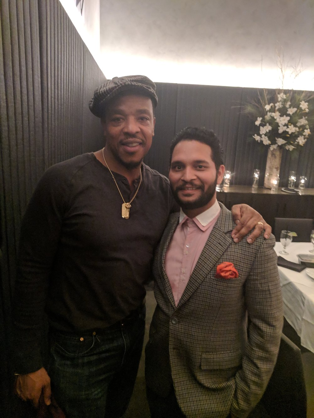 "Russell Hornsby (""The Hate U Give"") with award-winning, Indian playwright Rahul Tiwari, Ocean Prime, in New York City. Feb. 12, 2019 Photo credit, Lapacazo Sandoval"