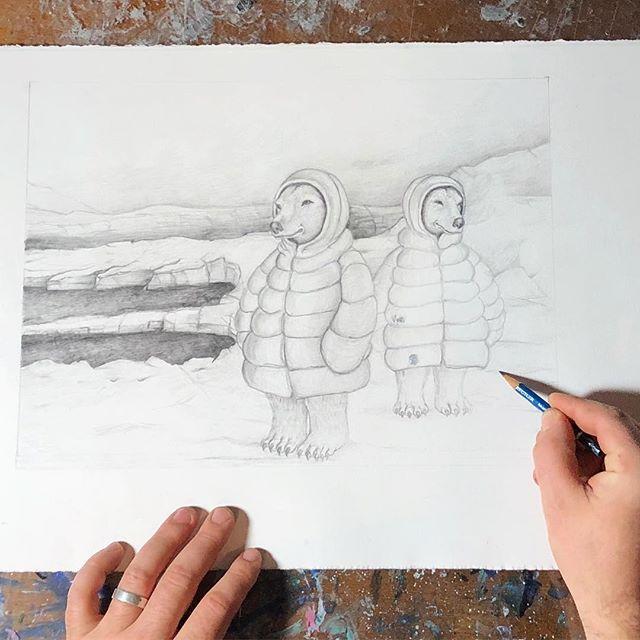working on something new for @steveferrera #wip #polarbears #steveferrera #illustration #toyart