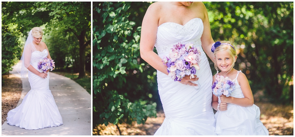 Bride with purple and pink flowers and matching flower girls
