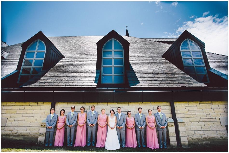St. Paul's Methodist Church, Papillion, NE, wedding party in modern pose