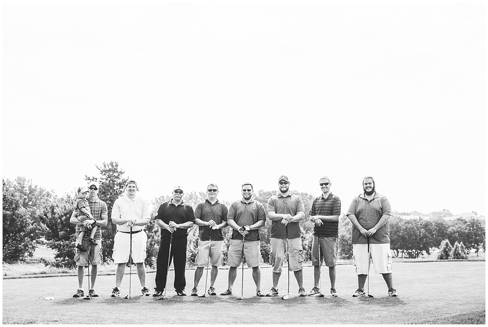 Groom and groomsmen golfing on Indian Creek Golf Course, Omaha, NE