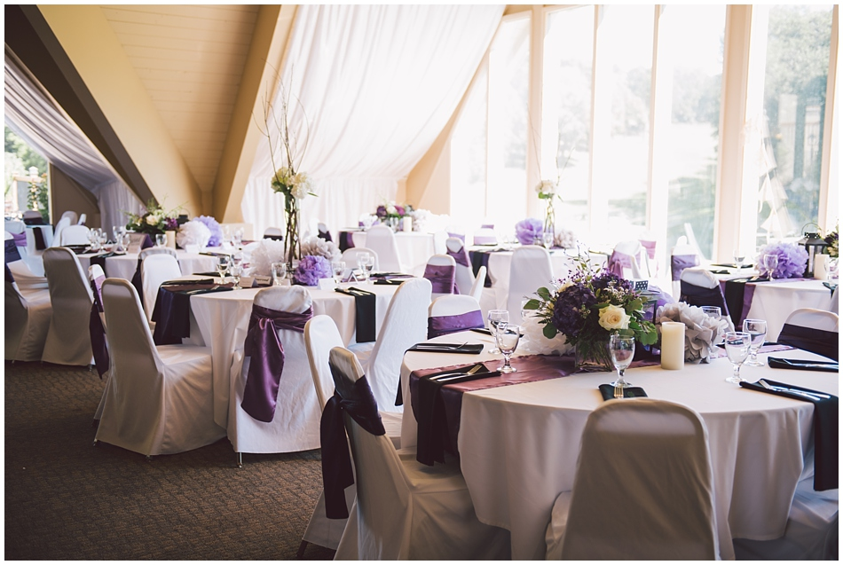 A View West Fontanelle Hills, purple sash around chair covers