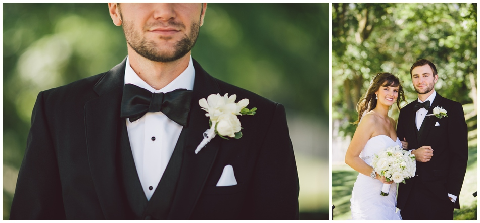 groom with bow tie and white flowers
