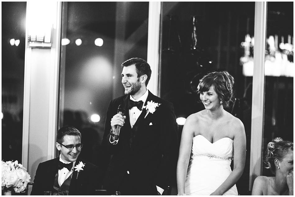 Groom giving speech at wedding