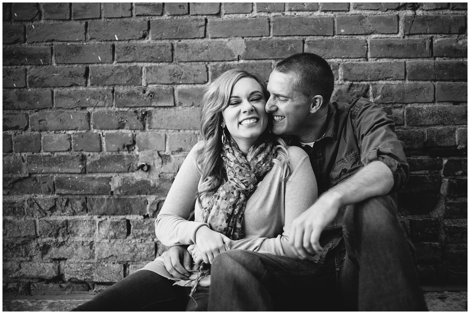 couple laughing together, Omaha Engagement photos