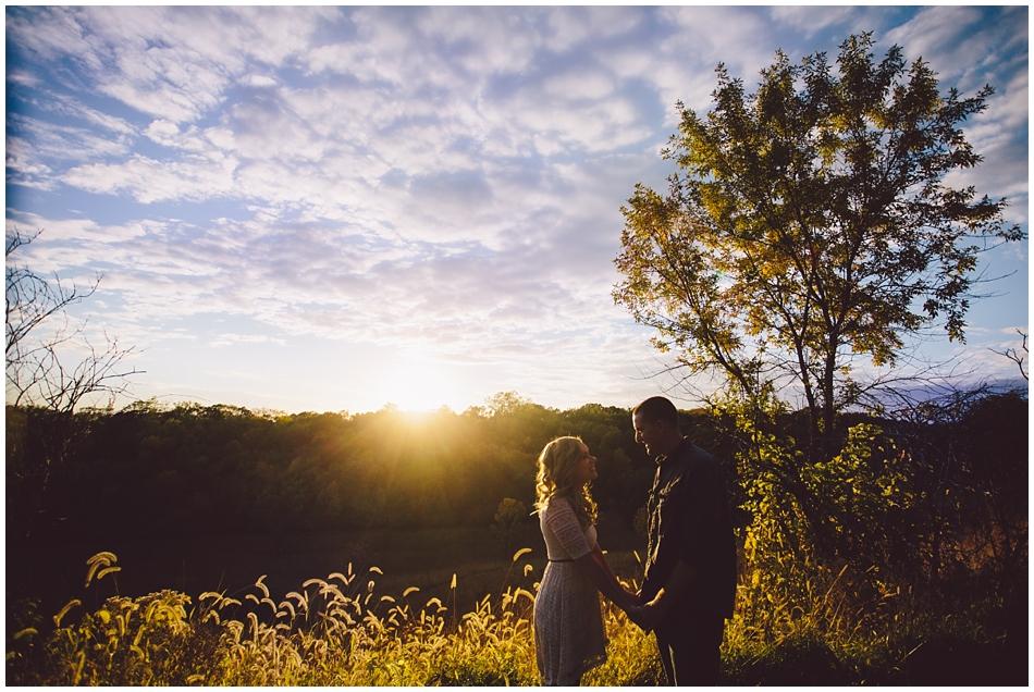 Engagement photos at Neil Wood, Omaha, NE, beautiful sky