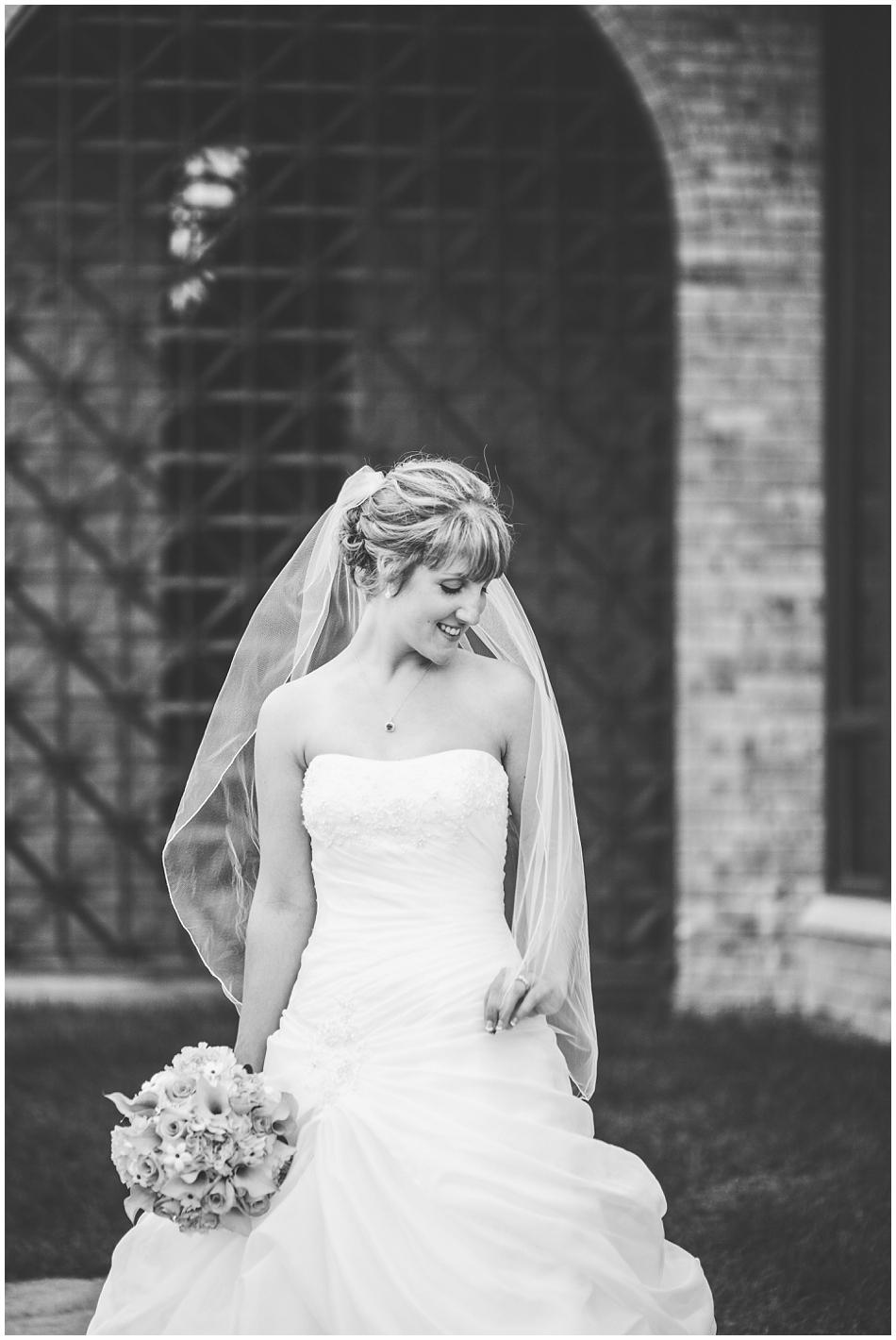 bride alone at St. John Vianney