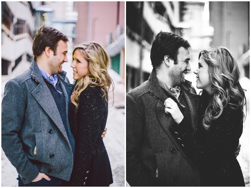 snowy engagement photos in alley, omaha, ne