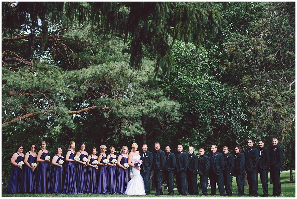 20 person wedding party, long purple bridesmaid dress