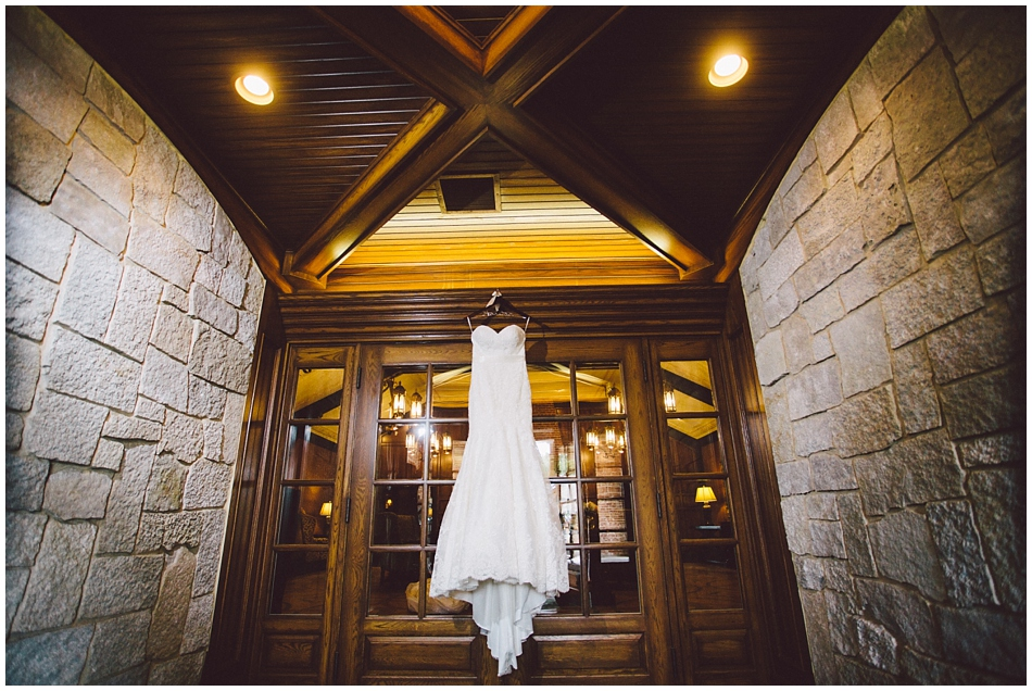 Wedding dress hanging at Omaha Country Club, Omaha, Nebraska