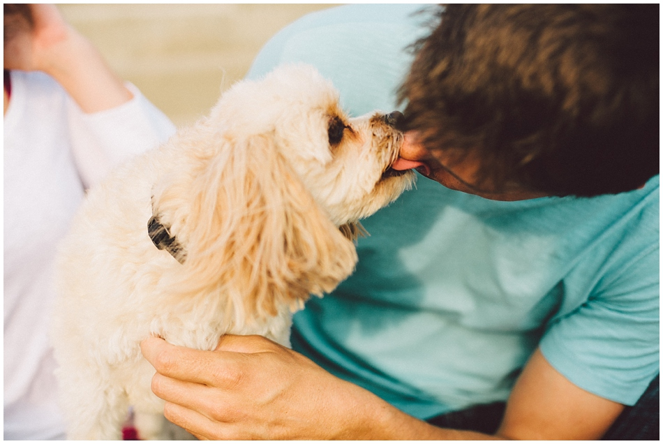 Dog licking guys face