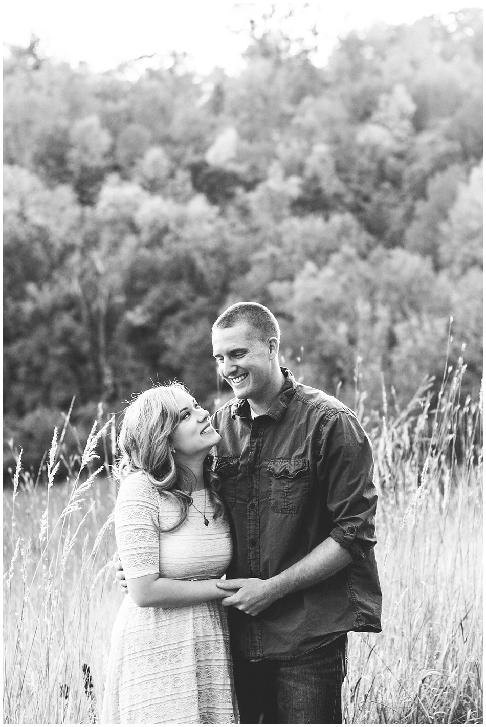 Happy couple black and white photo, rural engagement photo spot in Omaha, NE