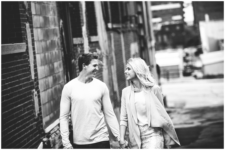 engagement photos in downtown Omaha