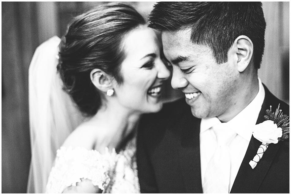 Happy bride and groom st. columbkille, omaha, ne