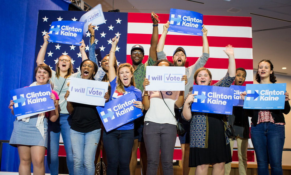 Students cheer for First Lady Michelle Obama at a campaign rally for Hillary Clinton in Charlotte, NC on October 4, 2016. Photo for Hillary for America