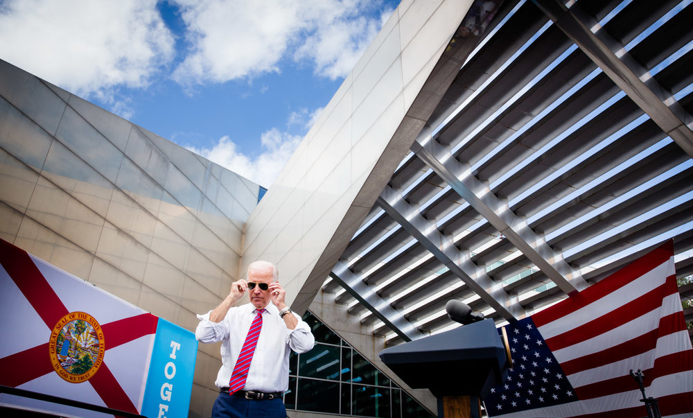 Vice President Joe Biden puts on his sunglasses after a campaign speech for presidential candidate Hillary Clinton in Tampa, FL on November 2, 2016. Photo for Hillary for America