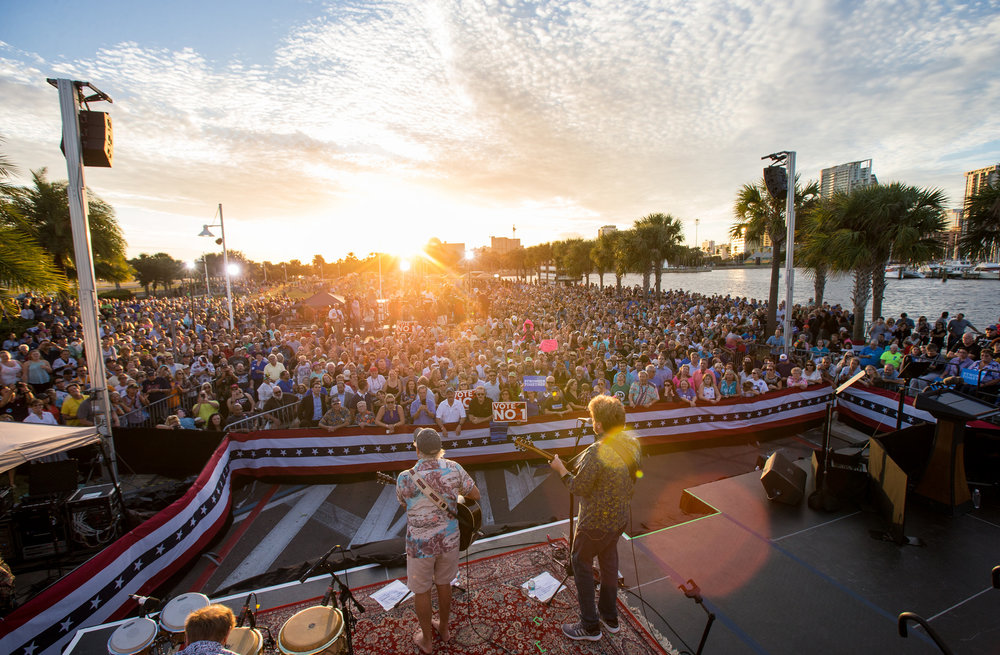Jimmy Buffet performs at a campaign rally for Hillary Clinton in Tampa, FL on November 7, 2017. Photo for Hillary for America