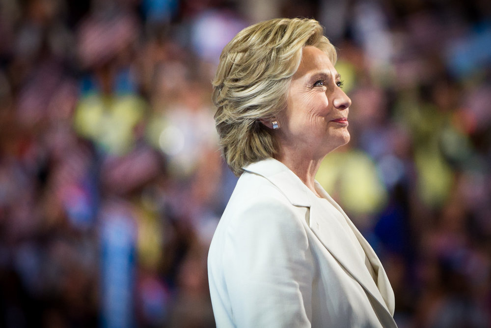 Presidential Candidate Hillary Clinton looks out at the crowd before giving her speech accepting the Democratic party nomination for president at the Democratic National Convention on July 28, 2016. Photo for the Democratic National Convention