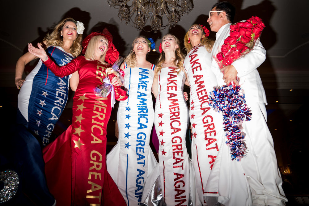 Models at the end of the runway at the Tea for Trump Birthday Extravaganza at the Trump Hotel in Washington, DC on June 24, 2018.