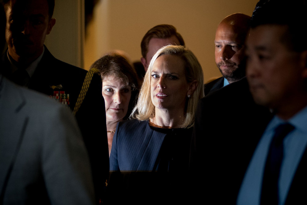 Homeland Security Secretary Kirstjen Nielsen leaves a meeting with the Congressional Hispanic Caucus on Capitol Hill in Washington, DC on July 25, 2018. (Erin Schaff for The New York Times)