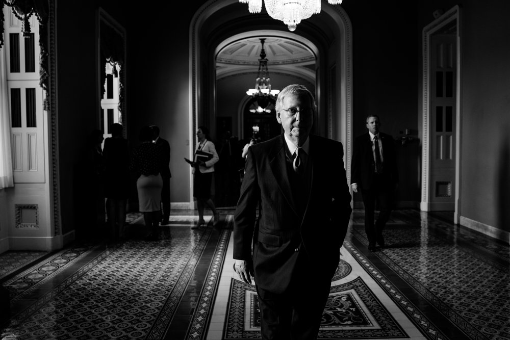 Senate Majority Leader Mitch McConnell (R-KY) leaves a news conference on Capitol Hill in Washington, DC on June 26, 2018. (Erin Schaff for The New York Times)