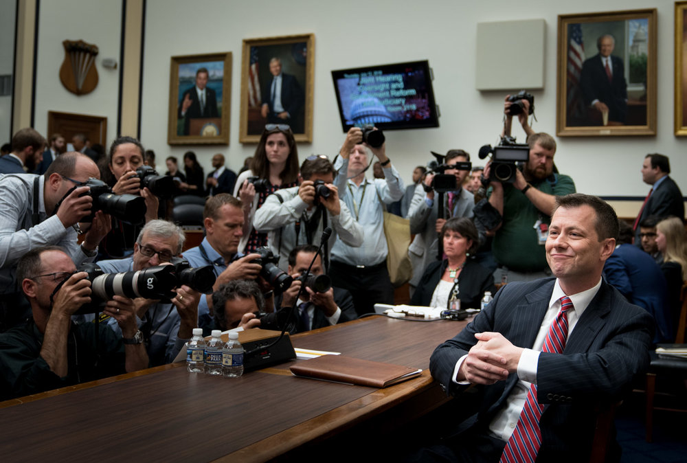 Peter Strzok, the FBI deputy assistant director, waits to testify before the House Committees on the Judiciary and Oversight & Government Reform, on Capitol Hill in Washington, DC on July 12, 2018. (Erin Schaff for The New York Times)