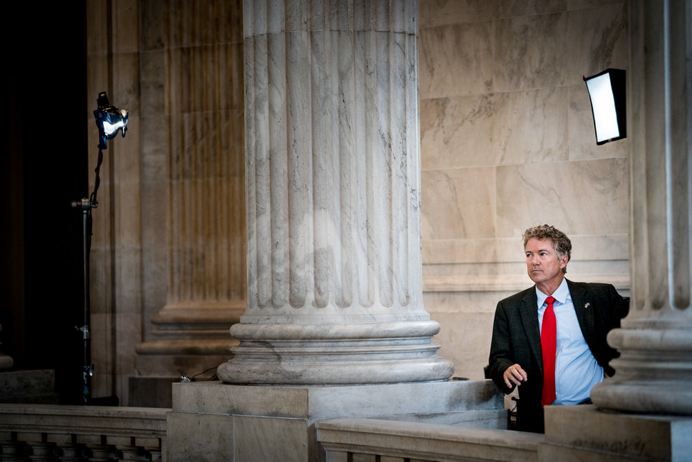 Senator Rand Paul (R-KY) waits for a television interview on Capitol Hill in Washington, DC on July 16, 2018. (Erin Schaff for The New York Times)