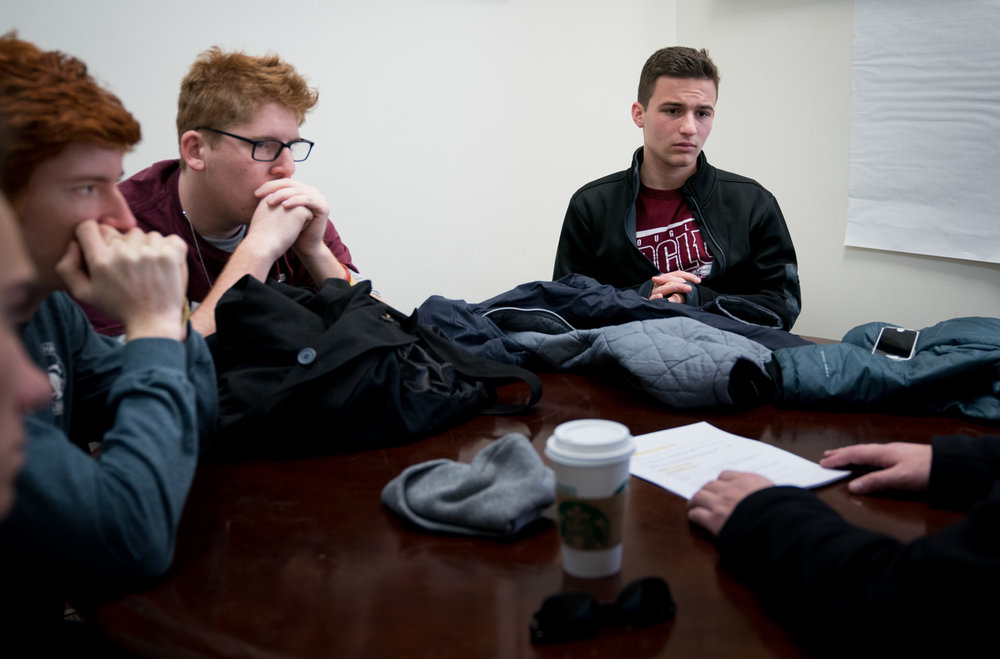 Marjory Stoneman Douglass High School student activist Ryan Deitsch, Matt Deitsch and Cameron Kasky go over details for their day before meeting with students at Thurgood Marshall Academy to talk about student activism in the face of gun violence in Anacostia in Washington, DC on March 22, 2018.