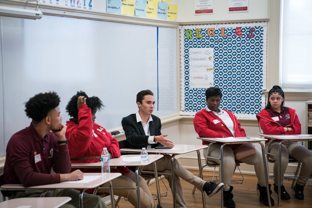 Students from Thurgood Marshall Academy in Anacostia listen to student activist David Hogg talk about student activism in the face of gun violence in Anacostia, DC on March 22, 2018.