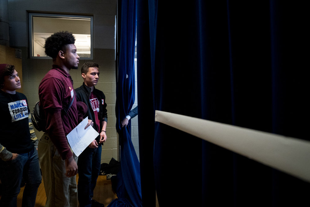 Students from Parkland, FL and Anacostia, DC wait to walk on stage at a #NeverAgain rally at Thurgood Marshall Academy in Anacostia. DC in Washington, DC on March 22, 2018.