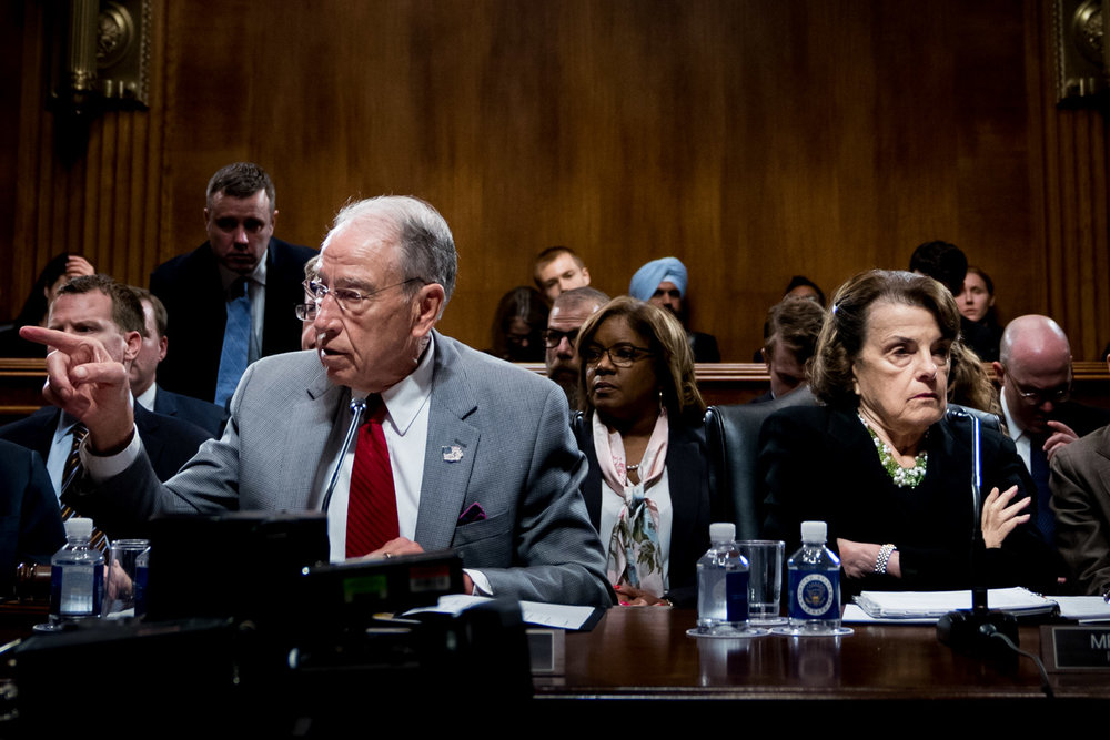 Senate Judiciary Chairman Chuck Grassley (R-IA), joined by Ranking Member Dianne Feinstein (D-CA), speaks during an executive business meeting of the Senate Judiciary Committee where they considered the nomination of Judge Brett Kavanaugh, President Donald Trump's nominee for the Supreme Court, on Capitol Hill in Washington, DC on September 13, 2018. Later that day Senator Feinstein referred a letter from Dr. Christine Blasey Ford accusing Judge Brett Kavanaugh of sexual assault to federal investigators starting the process that lead to Dr. Blasey Ford's testimony before the Senate Judiciary Committee.