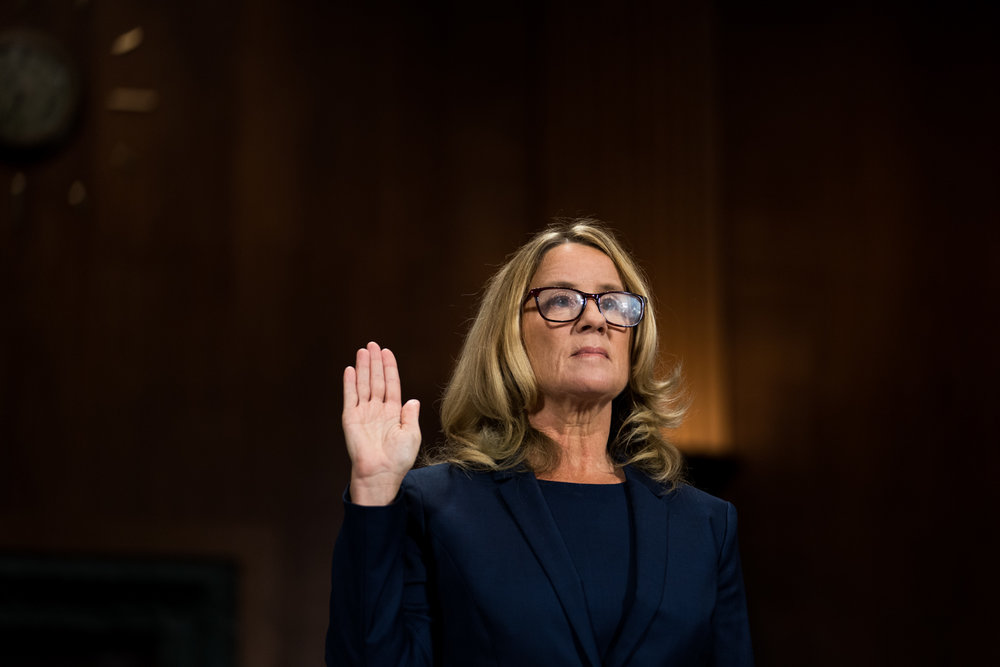 "Dr. Christine Blasey Ford is sworn in to testify before the Senate Judiciary Committee about sexual assault allegations against Judge Brett Kavanaugh who testified later that day in Washington, DC on September 27, 2018. During Dr. Blasey Ford's opening statement she said ""I am here today not because I want to be. I am terrified. I am here because I believe it is my civic duty to tell you what happened to me while Brett Kavanaugh and I were in high school."""