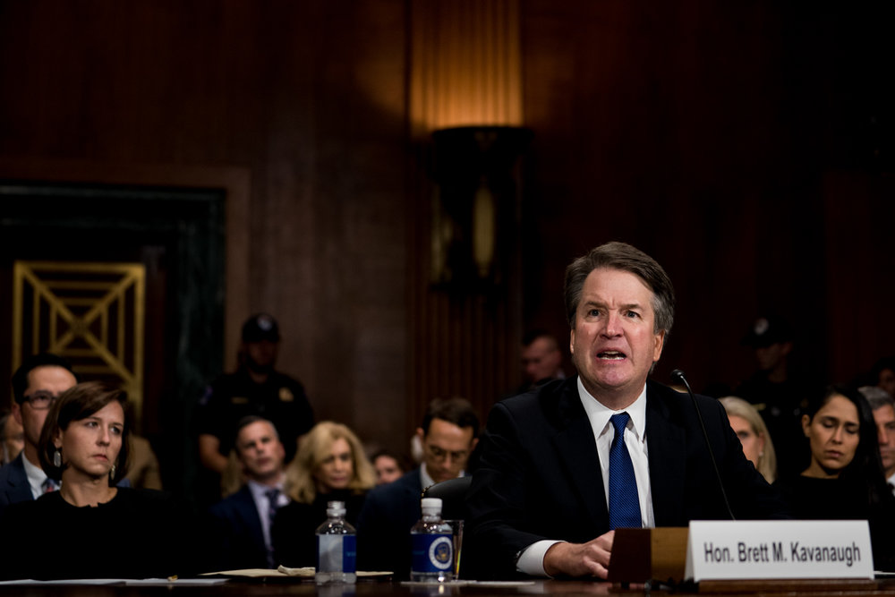 "Judge Brett Kavanaugh testifies about sexual assault allegations against him by Dr. Christine Blasey Ford, who testified earlier that day, before the Senate Judiciary Committee in Washington, DC on September 27, 2018. Judge Kavanaugh vehemently denied the accusations stating ""I am innocent!"" and that ""The Constitution gives the Senate an important role in the confirmation process, but you have replaced 'advice and consent' with 'search and destroy.'"""