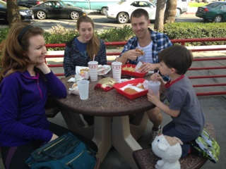 Pre Hike Lunch at In N Out on Sunset Blvd.