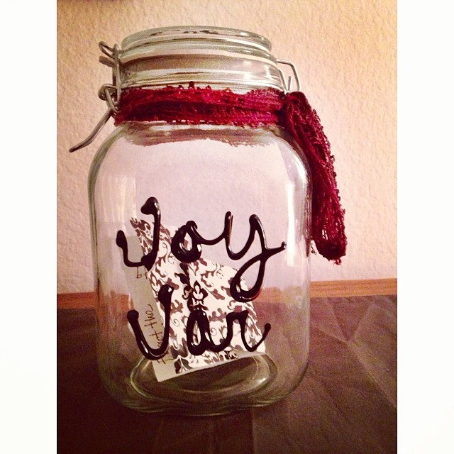 Another thing you could do, is a joy jar! Here is ours when we first began in the beginning of the year. We began ours on New Year's '14 and will look back on the blessings of 2014 this next New Year's Eve. However, you COULD also do something like this for Fall time.