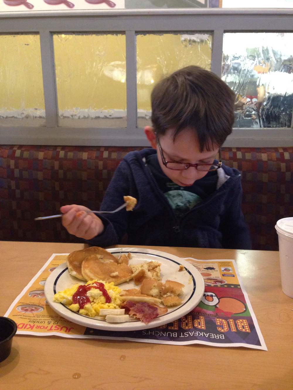 Saturday morning breakfast at IHOP-His favorite breakfast joint.