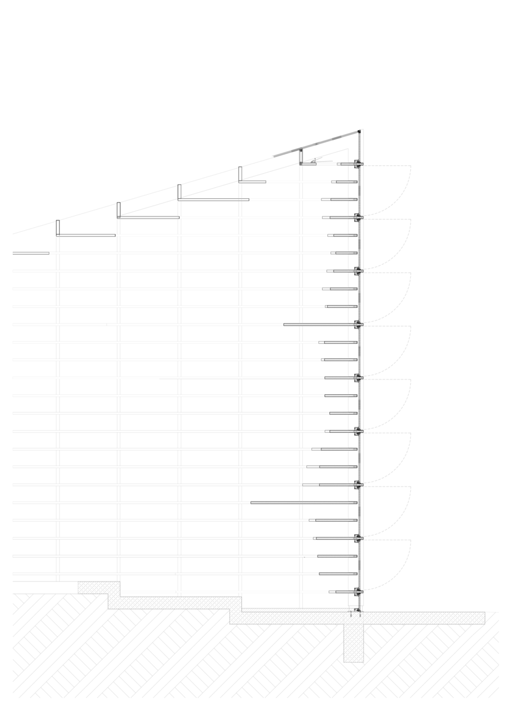 FACADE SECTION WITH OPERABLE LOUVRES