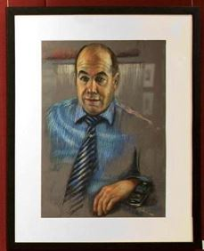 A satirical portrait of Rodney Marks by Nafisa Naomi, hung in NSW Parliament House Fountain Court Foyer.