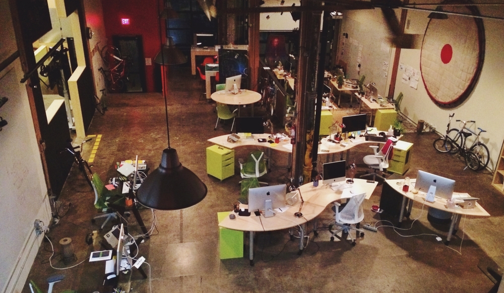 The beautiful studio space of Portland's own Citizen; taken well after normal business hours.