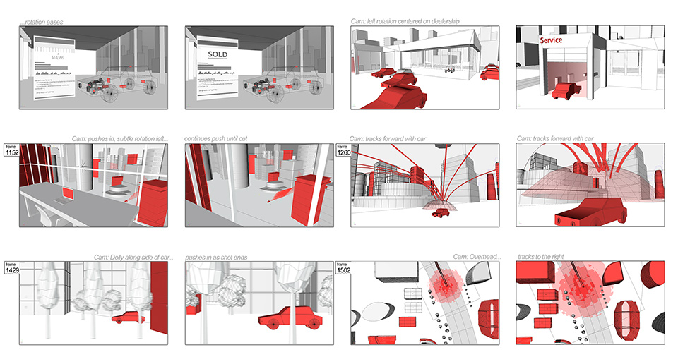 Storyboards, built solely in Cinema 4D.
