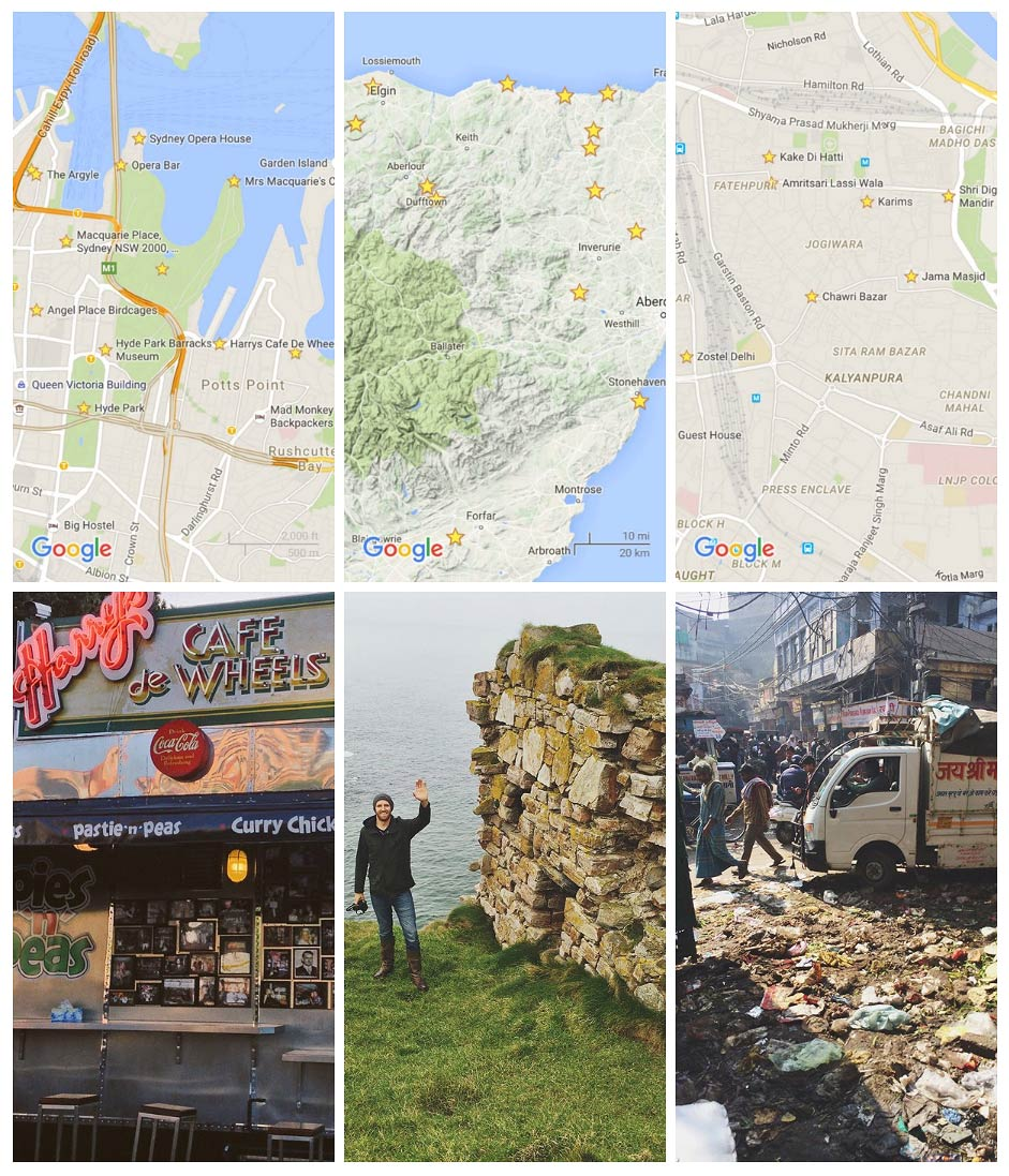 Harry's Cafe de Wheels in Sydney Australia, Northern Scotland at Findlater Castle and Chawri Bazar, Old Delhi, India