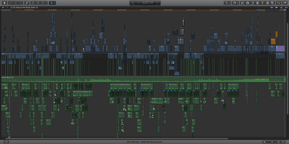 The Final Cut Pro X timeline for the video. My first time working with this application proved to be quite the learning experience.