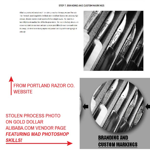 stolen gold dollar straight razor photo with photo shop skills