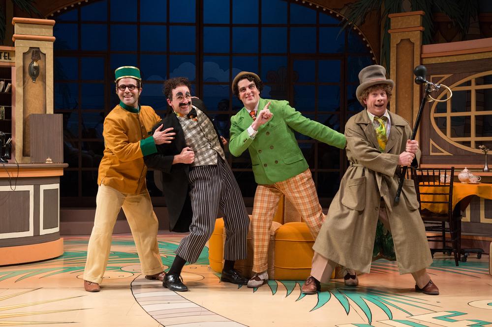 The Marx Brothers: Robert Jamison/Zeppo (Eduardo Placer), Mr. Hammer/Groucho (Mark Bedard), Chico (John Tufts), Harpo (Brent Hinkley). Photo by Jenny Graham.