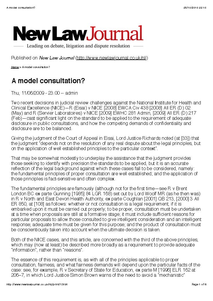 For the full article see:  http://www.newlawjournal.co.uk/nlj/content/model-consultation-0