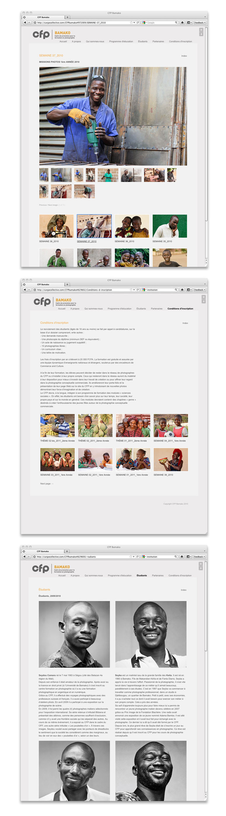 A look at the new website created by Commerce and Culture for their partner in Mali, Cadre de Promotion pour la Formation en Photographie (CFP).